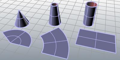 Unrollsrf 명령 Rhino 3d 모델링